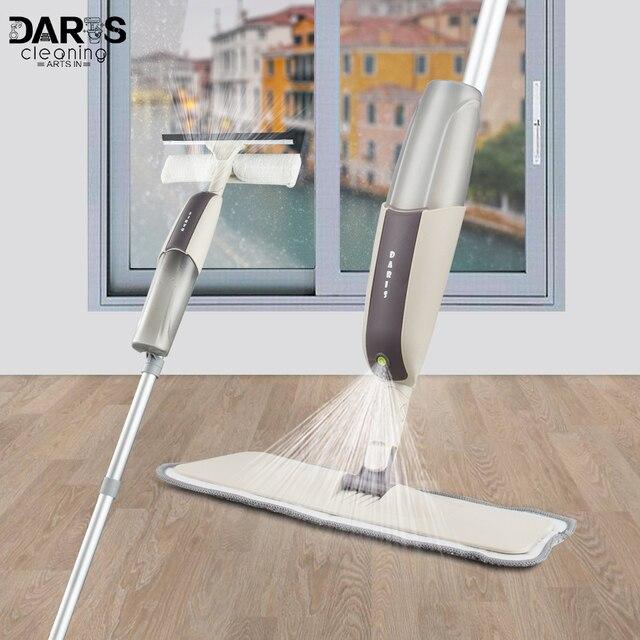 Dropshipping espray mopa limpiador de suelo de madera mango largo ventana cepillo de limpieza multifuncional hogar Herramientas de limpieza 4 piezas fregona almohadillas