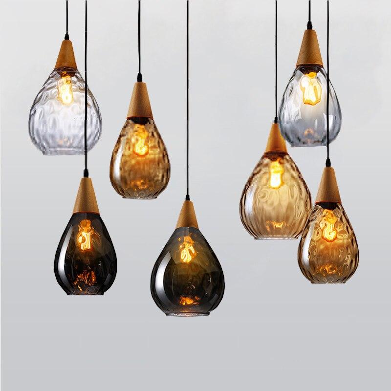 Vintage Handmade Europe Clear/Amber/Gray Crystal Glass&Wood Led E27 Pendant Light for Dining Room Restaurant Lamps 1445