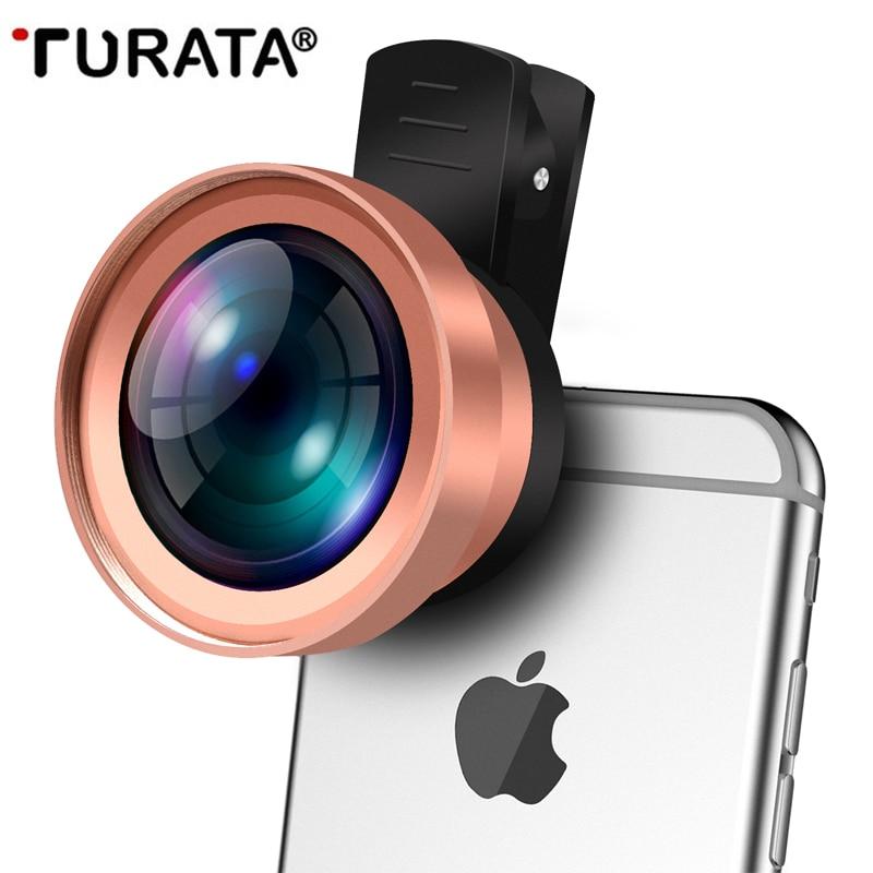 TURATA Mobile Phone Lens, 2 in 1 HD Fisheye Lens Kit Clip on Design Fish Eye Lens for Smartphone iphone 7 8 6S 6 Plus Samsung