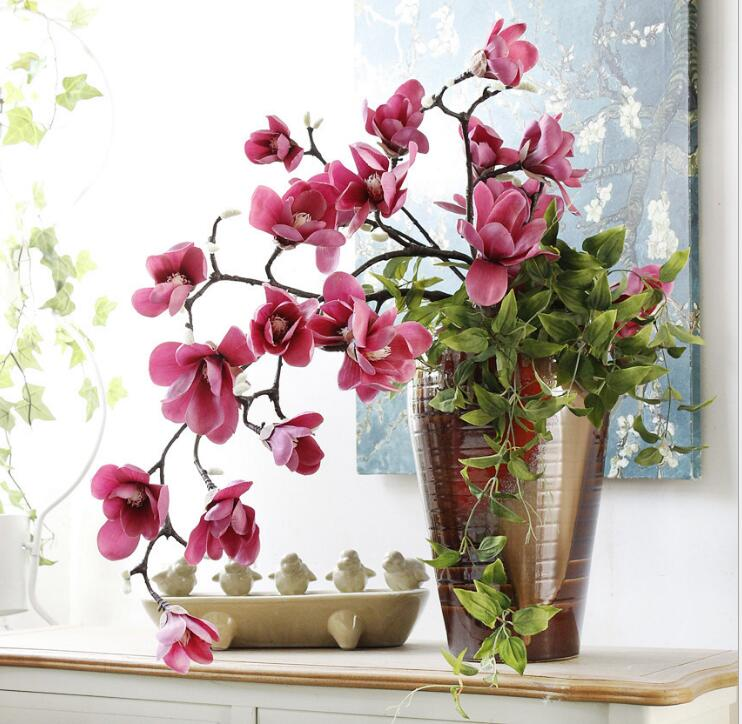 2pcs Artificial magnolia flower bouquet material branch plant vase ...