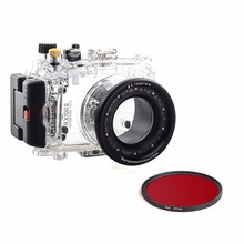цена на Meikon Waterproof Underwater Camera Housing Diving Case for SONY DSC-RX100 ii/RX100M2/RX100 Mark2+Red Filter 67mm