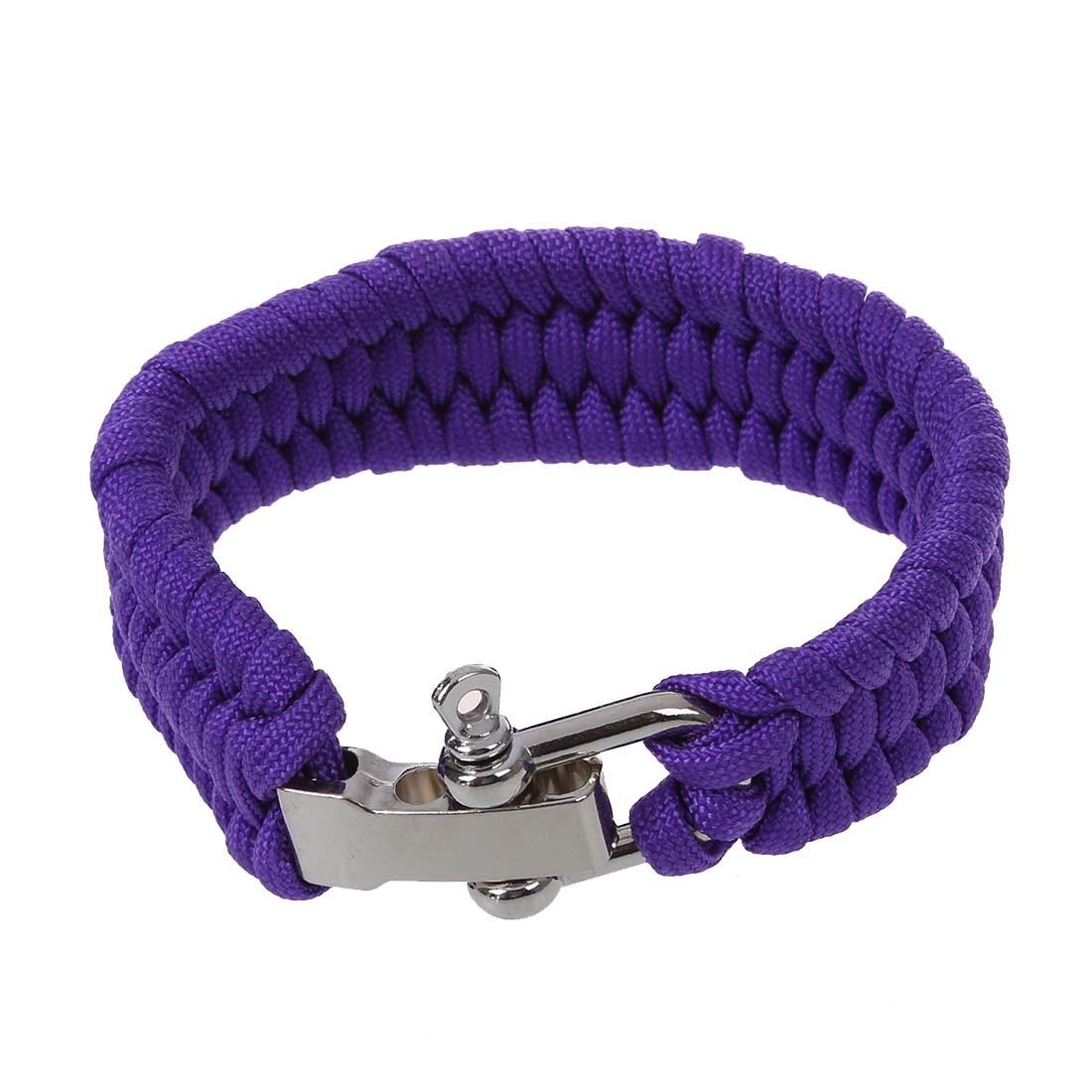 Wholesale 5pcs*7 Strand Survival Military Weave Bracelet Cord Buckle Purple Luggage & Bags