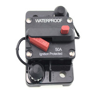 Flush Mount Circuit Breaker 50A AMP Car Boat Truck RV Stereo Audio Inline Replace Fuse 12V 72V DC