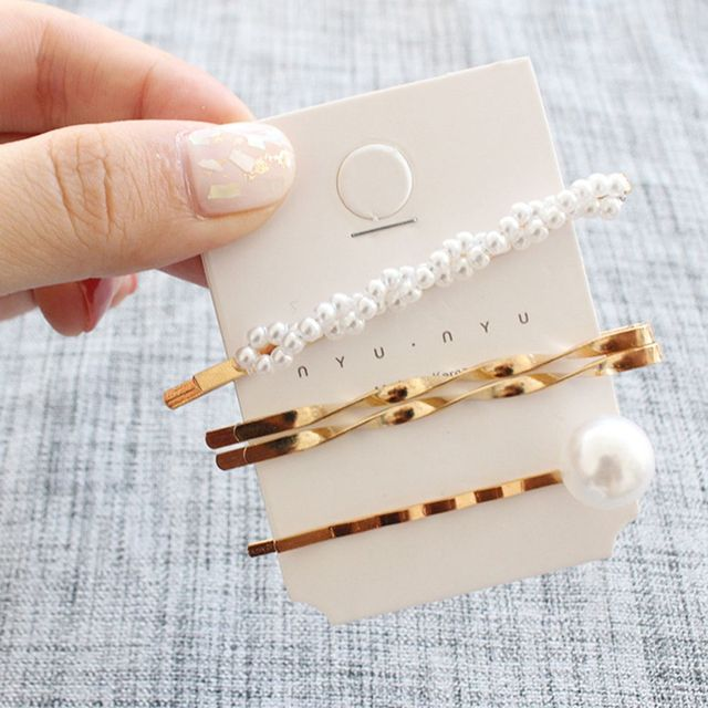Pearl Metal Hair Clip Comb Bobby Pin Barrette 3 Pcs/Set