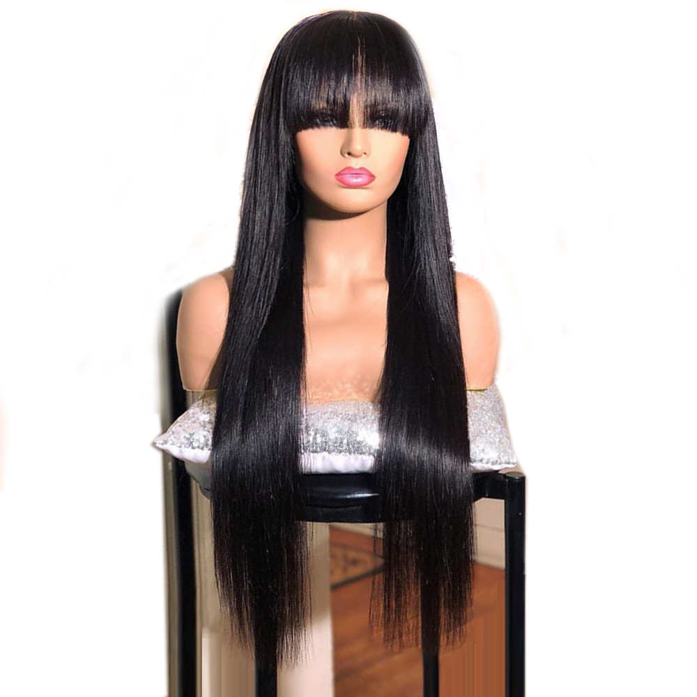 Eversilky Lace Front Human Hair Wigs For Black Women Brazilian Remy Hair Lace Front Wig With Bangs Natural Straight Hair Wig