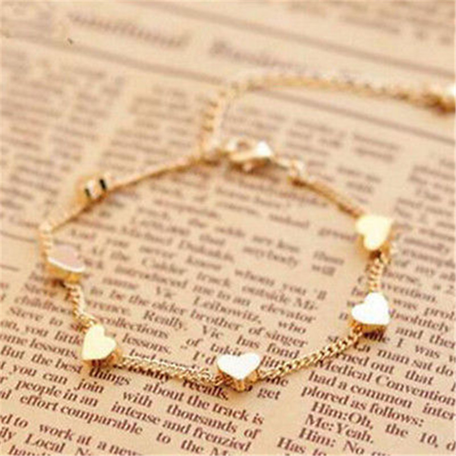 FD4127 new Gold Chain Anklet Heart Love Bracelet Barefoot Sandal Beach Foot font b Jewelry b