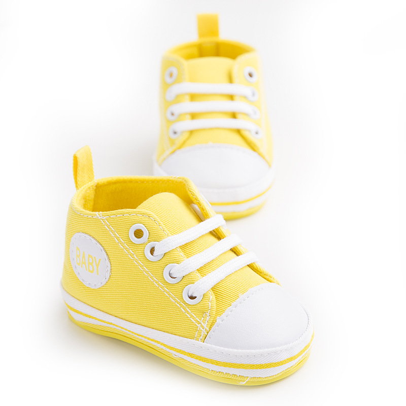 Yellow Newborn Baby Soft Bottom Anti-slip Prewalker Shoes