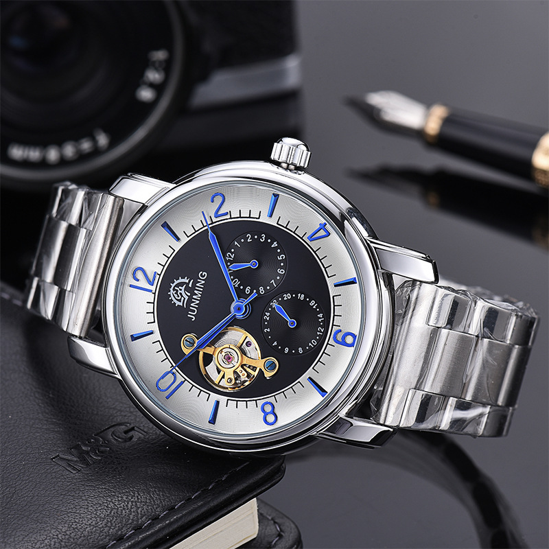 2018 New Men Full-automatic Mechanical Watch Tourbillon Luxury Fashion Brand Stainless Steel Man Multifunctional Watches tevise fashion auto date automatic self wind watches stainless steel luxury gold black watch men mechanical t629a with tool