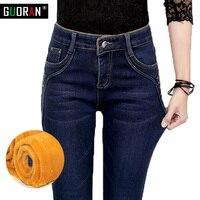 Plus Size Alpaca Cashmere Ultra Soft Warm Wool Jeans Women Winter Stretch High Waist Jeans Thicken