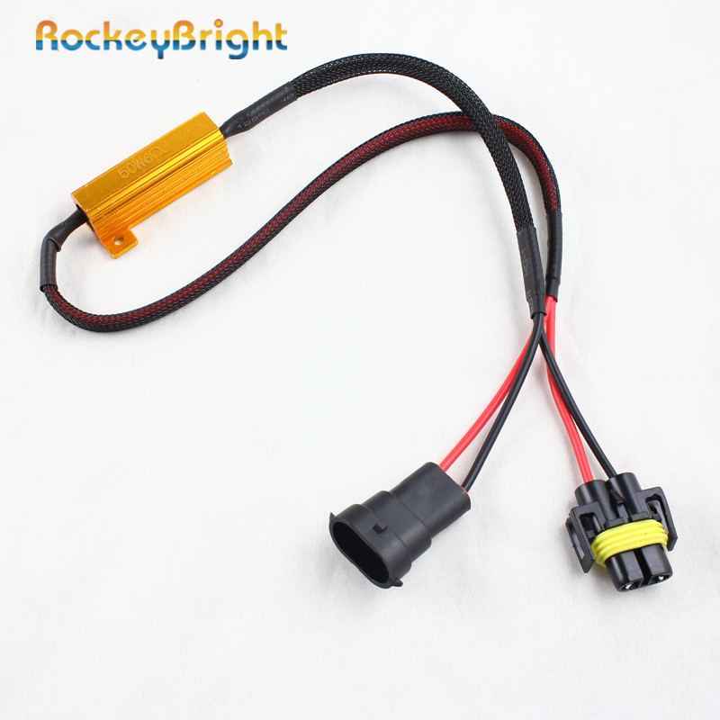 Rockeybright 50w 6Ohm H8 H9 H11 LED HID Fog Light Bulb Canbus Canceller Flickering Decoder Load Resistor No Error Wire Harness