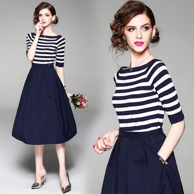964c0b0dc Europa moda feminina de slash collar stripe camisetas de malha ...