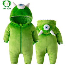 Flannel Green One-eyed Monster Baby Romper Zipper Toddlers O