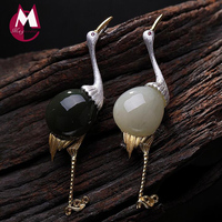 2019 White Jade Jasper Creative Flamingo Pin Pendant 100% 925 Sterling Silver Women Natural stone Necklace Pendant Jewelry P011