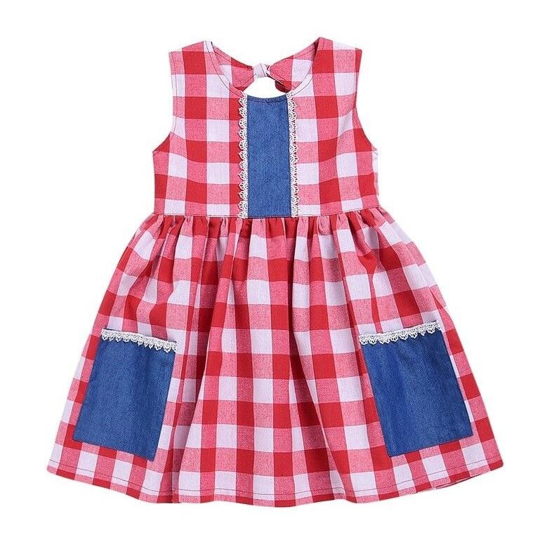 Baby Toddler Kids Girls Clothing Sleeveless Dress Plaid Tutu Mini Backless Cute Summer Sundress Party Dresses Girl 1-6Years