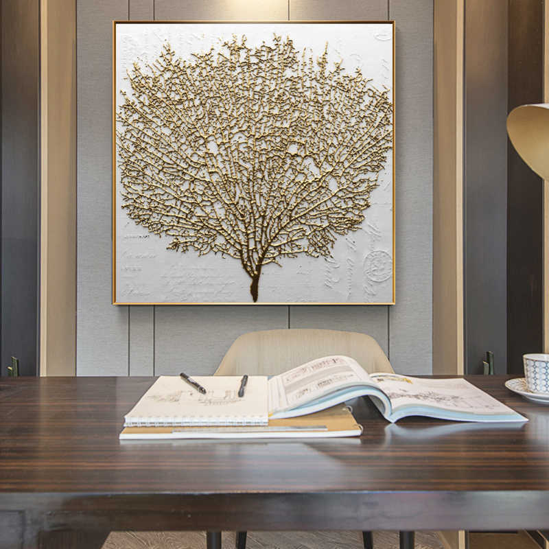 Wall Paintings Posters and Prints Wall Art Canvas Painting Abstarct Golden Tree Pictures For Living Room Home Decor No Frame