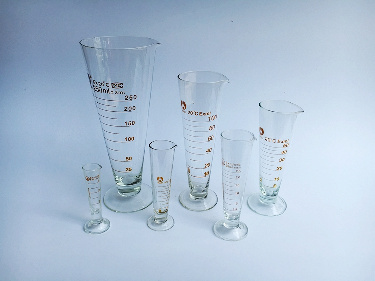 free shipping 250ml 2pcs/lot Lab Glass Triangle Measuring Cup  Accurate Scale