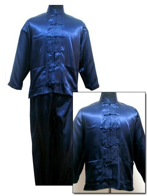 Free Shipping ! Navy Blue Men's Polyester Satin Pajama Sets Jacket Trousers Sleepwear Nightwear SIZE S M L XL XXL XXXL M3012