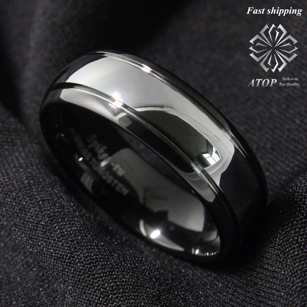 8mm Dome Black Tungsten Carbide Ring Men's Wedding Band Bridal Jewelry Size 6-13 Free Shipping image