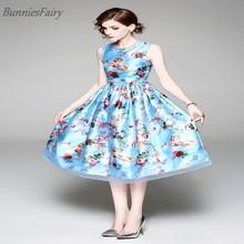 938e0aada2 BunniesFairy 2018 Summer Sweet Pastoral Style Lady Flower Floral Print High  Waist Blue Midi Dress Gauze