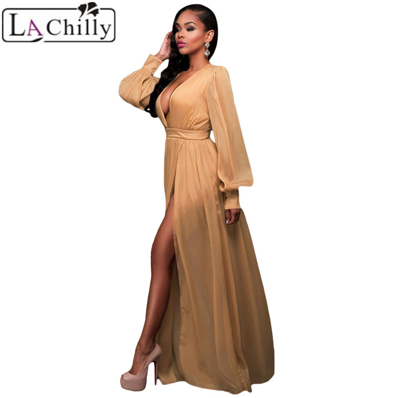 La Chilly 2018 robe sexy dentelle roupas femininas Party autumn winter  Hollow Out Shimmer Mocha blue Slit Goddess Dress LC61198-in Dresses from  Women s ... 6994b8f2ec74