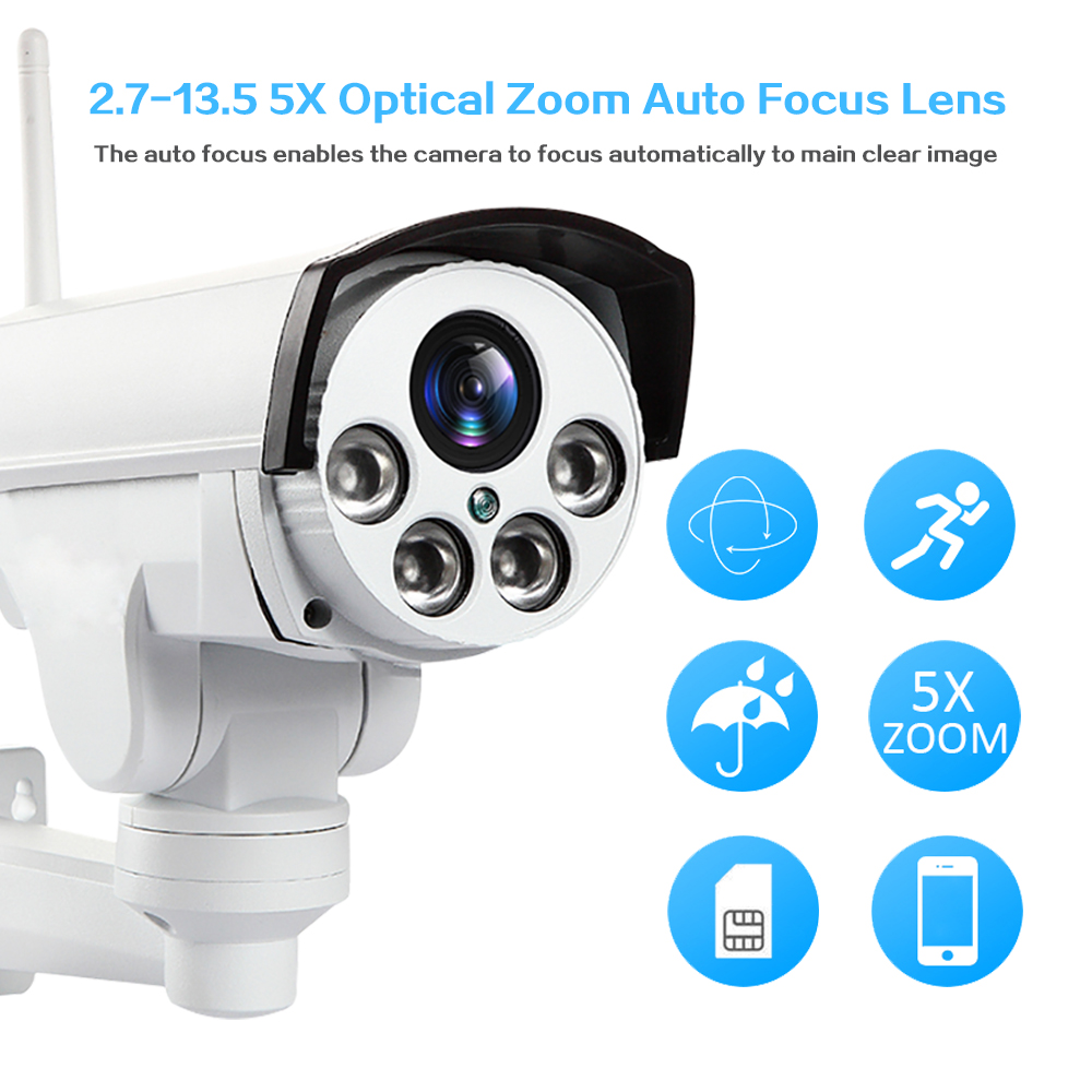 Surveillance IP Caméra Extérieure HD 960 P 1080 P 3G 4G Sans Fil SIM Carte Wifi CCTV Caméra PTZ 5X Zoom Infrarouge Bullet caméra