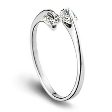 New 925 Sterling Silver Rings Double Drill Ring For Women Adjustable Engagement Wedding Love Cubic Zirconia