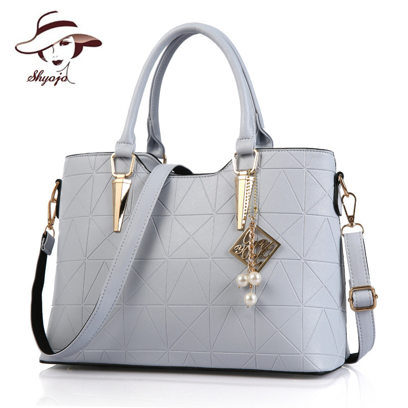 SHYOJO 2017 New PU Leather Handbag Pearl Accesories Women Bag Embossing Solid Co