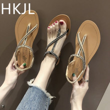 HKJL 2019 summer new style fashionable bright water drills a word buckle flat shoes female temperament clip-on sandals A167