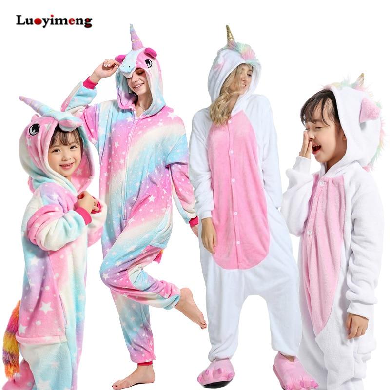 Boys Girls Kigurumi Pajama Sets Panda Unicorn Pajamas For Women Pijimas Onesie Adults Animal Sleepwear Winter Warm Pyjamas Kids