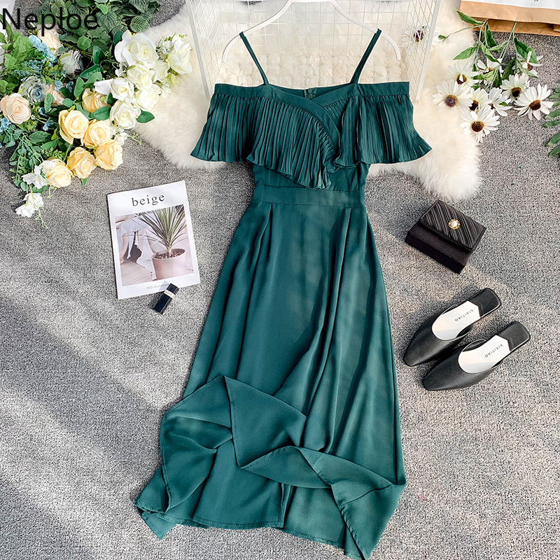 Neploe Sweet Spaghetti Strap Women Dress 2019 Solid Slash Neck Short Sleeve Vestido England Style Chiffon A-Line Robe 43088 1