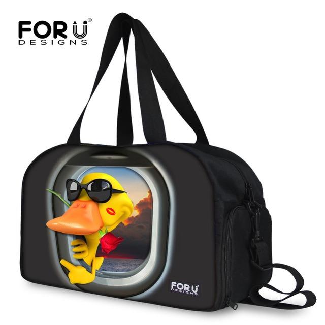 Forudesigns moda bolsos de duffle del recorrido para las mujeres animal jirafa pato hembra impresión de la lona bolsa de lona bolsa de viaje de gran fin de semana