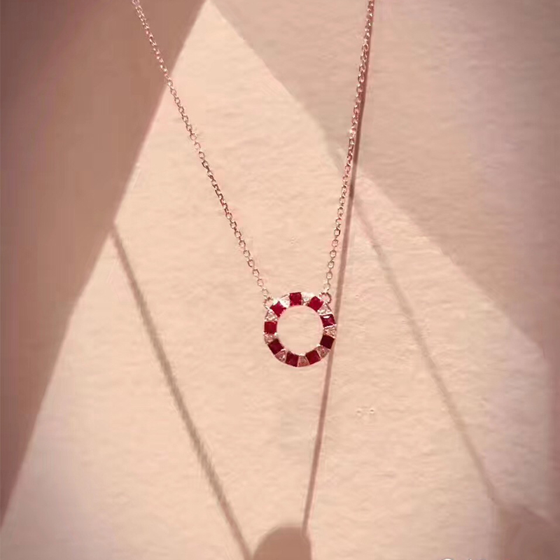 ANI 18K Rose Gold (AU750) Pendant Necklace Natural Ruby Fine Jewelry Women Engagement Necklace Fashion Design Birthday Gift ani 18k rose gold pendant necklace ruby fine color gemstone jewelry natural diamond snow shape fashion women engagement necklace