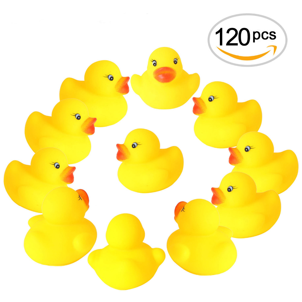 120pcs/lot Mini Yellow Rubber Ducks Bath Toy Baby Shower Water toys Pure Natural Cute Rubber Ducky for Baby Kinder Toys 2018 cute lovely mummy and baby rubber race squeaky ducks family bath toy kid game toys 1 big 3 small duck taking shower toy