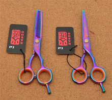 "5.5"" 16cm Japan Kasho 440C Purple Color Professional Human Hair Scissors Hairdressing Cutting Shears Thinning Scissors H1004"