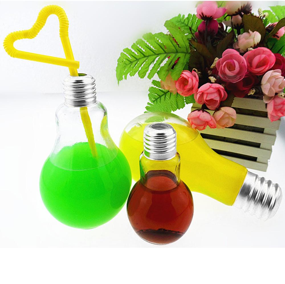 New Summer Bulb Water Bottle Cup Brief Fashion Cute Milk Juice Light Bulbs Leak-proof sealing cap straw decorative vase