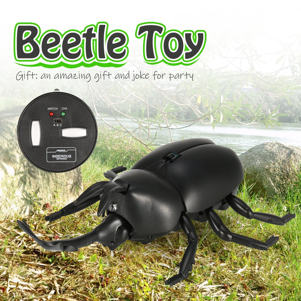 Infrared Remote Control Realistic Moke Fake Beetle RC Prank Insect Bugs for Joke Scary Trick Toy Gift Party Surprise(China)