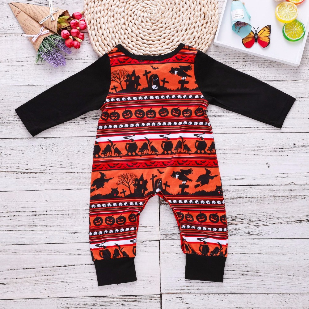 pumpkin romper long sleeve black polyester cotton baby onesie