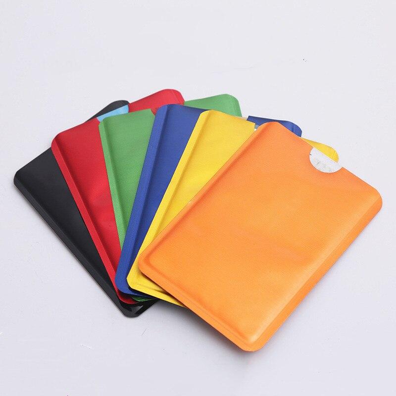 10Pc Anti Rfid Blocking Reader Lock Card Holder Id Bank Card Case Protection Aluminium Metal Smart Anti-theft Credit Card Holder
