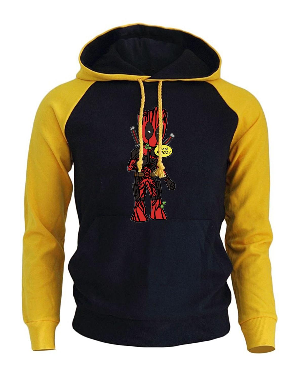 Men's Sportswear Hoody 2018 Autumn Winter New Fashion Sweatshirt Print Cartoon Deadpool Funny I'M GROOT Hoodies Men Brand Coat