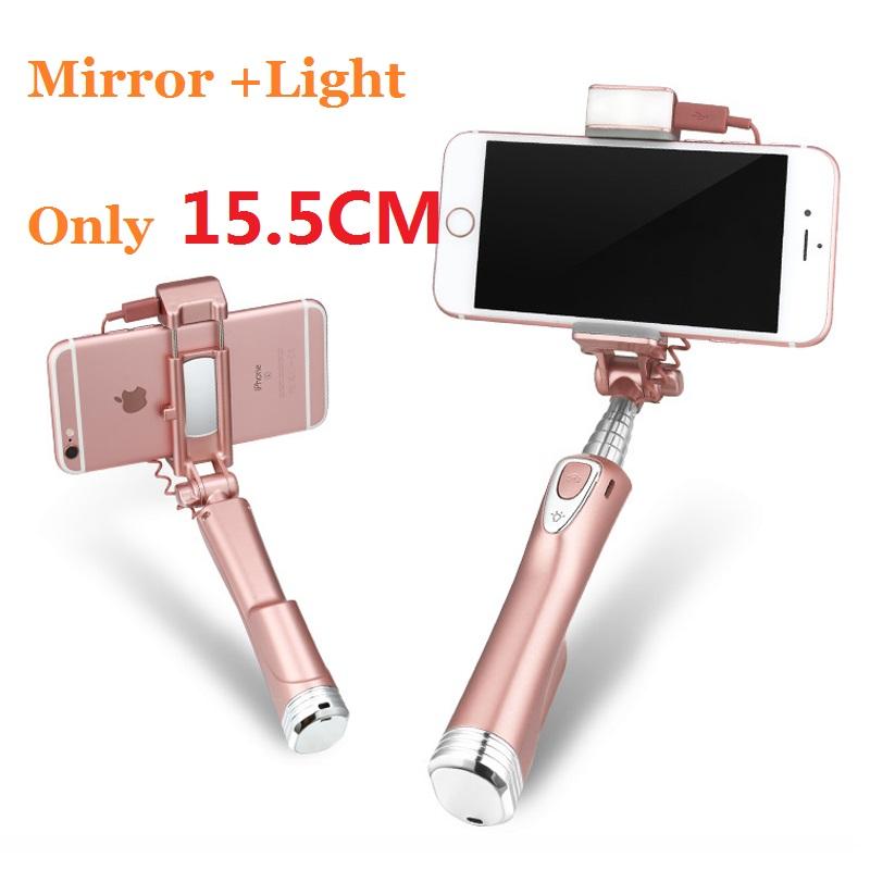 Prix pour Ulanzi Mini Selfie Bâton 3 en 1 Bluetooth Selfie Bâton avec LED Lumière et Réfléchissant Miroir pour iPhone Samsung smartphone