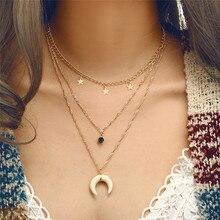 5c6356f592a3 De moda cuerno Luna pentagrama geométrico collar de diamantes multicapa Cadena  de clavícula X joyas collar colgante collar de ca.