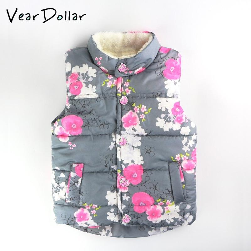 8d06eb99541 VearDoller Kids Clothing Winter Outerwear Coats Floral Pattern Thick  Princess Girls Vest Plus Velvet Baby Girl Warm