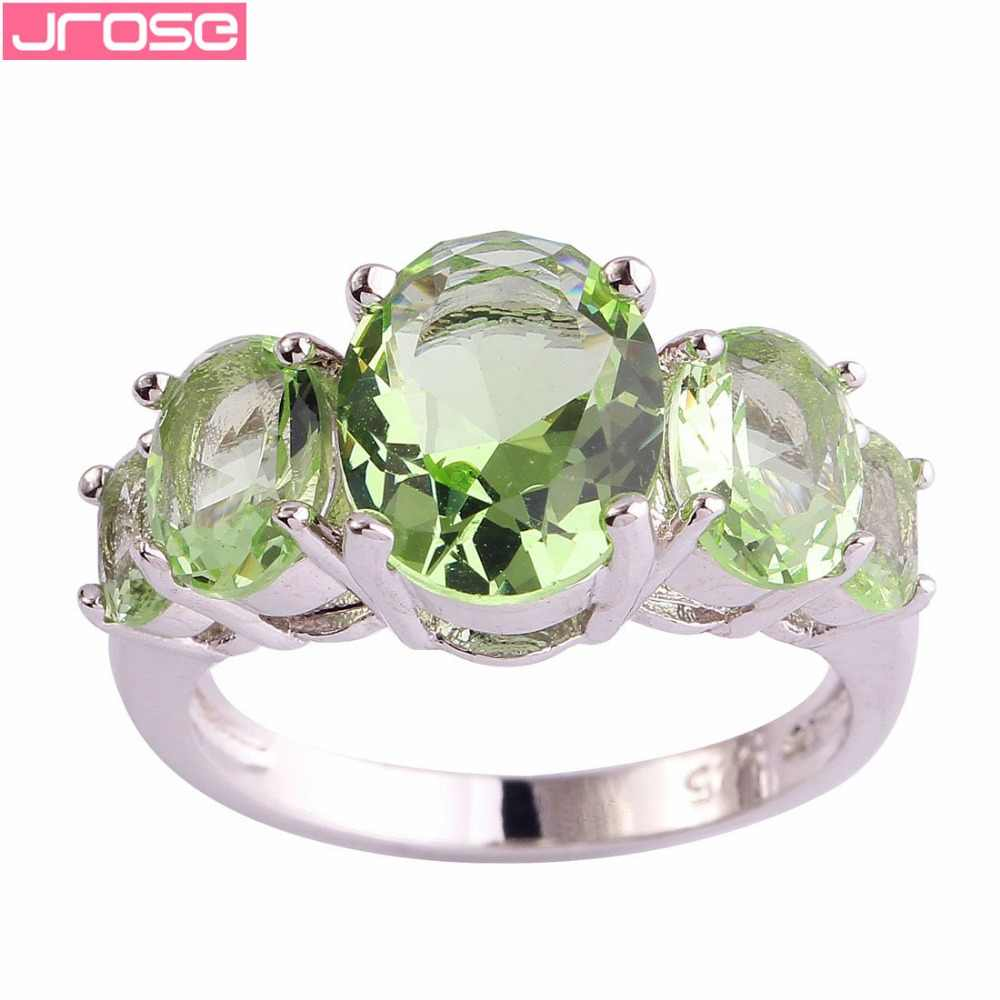 JROSE Wholesale Fashion Pretty Green AAA Cubic Zircon Couple Knuckle Silver Ring Size 6 7 8 9 10 11 12 13 Attractable For Women