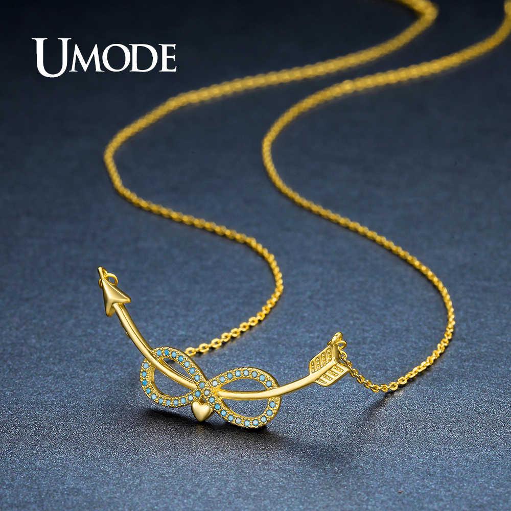 UMODE nowy śliczne jezioro niebieski nieskończoność miłość wisiorek w kształcie serca naszyjniki dla kobiet i para zakrzywione kupidyna strzały kryształowe wisiorek UN0242A