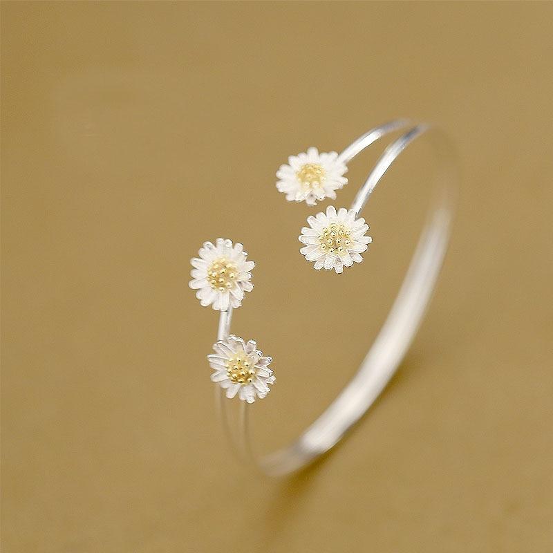 Silver Daisy Flower Bangles Open Cuff Bracelet 1