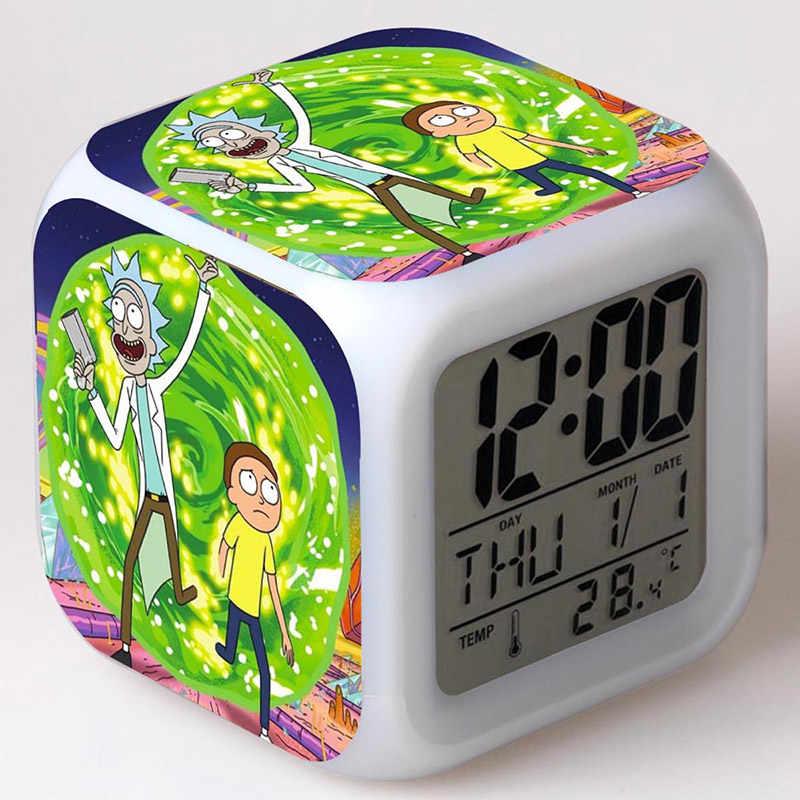 Pickle Rick Figura Brinquedos LED Flash de Luz Colorida Despertador Rick e Morty Anime Figma Brinquedos Para Crianças