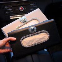 Luxus Diamant Kristall Schwarz PU Leder Auto Sonnenblende Tissue Halter Halterung Hängen Tissue Halter Sonnenschirm Fall Papier Handtuch Abdeckung
