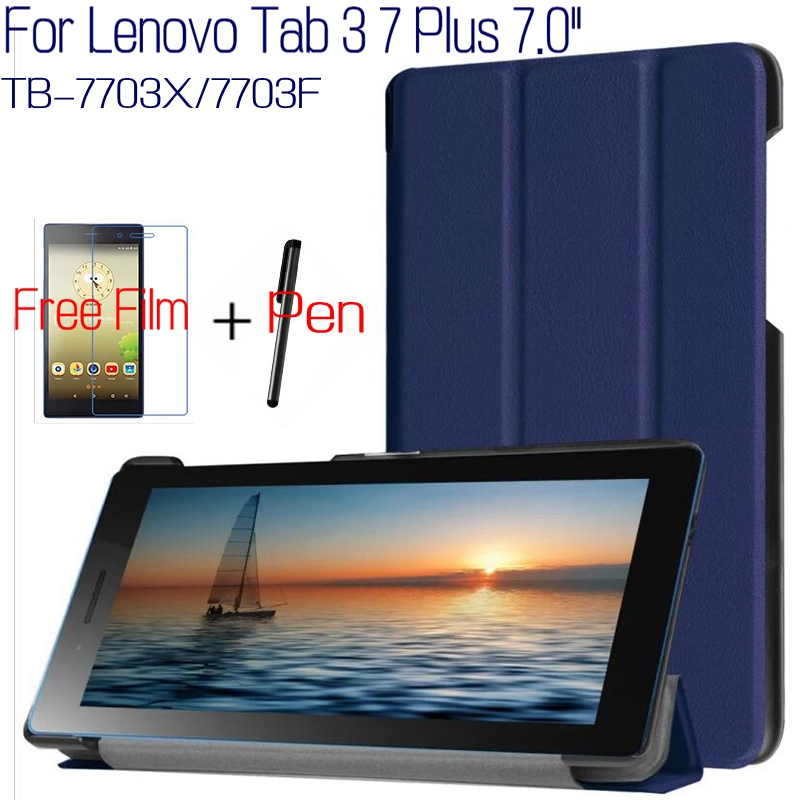 Top Quality Smart PU Leather Cover for Lenovo Tab 3 7 Plus TB-7703X/7703F 7.0 inch Tablet Funda Case+Free Screen Film+Pen magnetic stand smart pu leather cover for lenovo tab 4 8 tb 8504f 8504n 8 0 tablet funda case free screen protector stylus pen