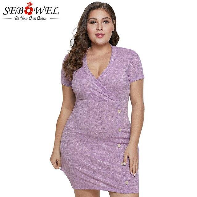 SEBOWEL Purple Metallic Shinning Plus Size Dress Woman Elegant Short Sleeve  Female Wrapped Mini Big Size Dresses Summer New 2019 3cf966e17768