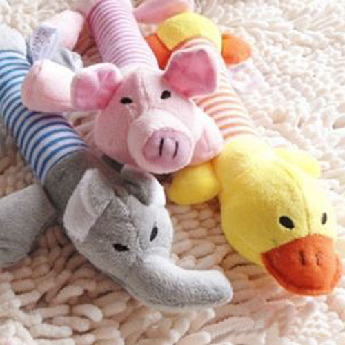 New Plush Toy Pet Toys Puppy Chew Squeaker Squeaky Plush Sound Elephant,Duck,Pig Kid Toys W20